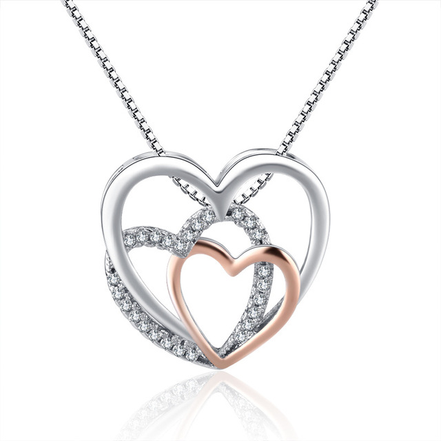 Heart Crystal Necklaces Statement Chain Necklace Woman valentines Gift 5