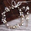 Волосы невесты золотые ветви Керамические Цветы Повязка Костюм свадьбы тиару заколки Свадебные Аксессуары Для волос корона для невесты