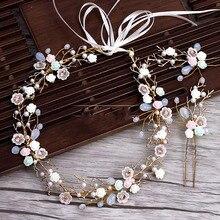 Золотые ветви Керамика цветок оголовье заколки костюм свадебная тиара украшение для волос для невест свадебные волос Аксессуары