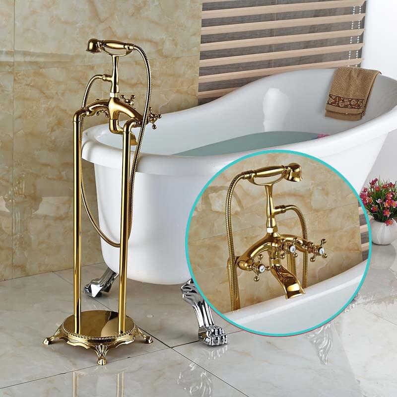 Modern Freestanding Dual Cross Handles Bathtub Faucet Tub Filler Golden Finish Floor Mount