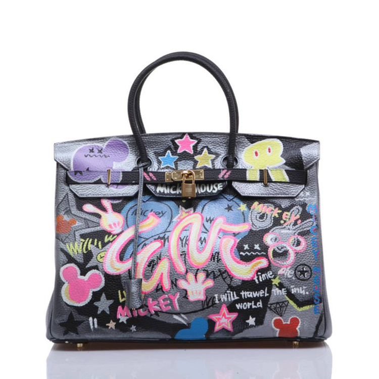 2016 American Graffiti Printed Cartoon High Quality leather Platinum Package Buckle handbag with Multicolored print for New York 2016 fashion graffiti printed high quality pu leather handbag platinum package buckle handbag with multicolored print large bag