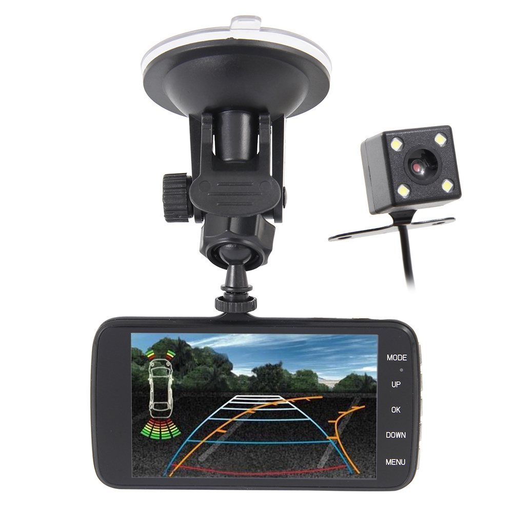 ADAS Car DVR Camera Dual Lens IPS 4.0 Full HD 1296P Video Recorder Registrator Night Vision Car Camcorder DVRs Dash Cam