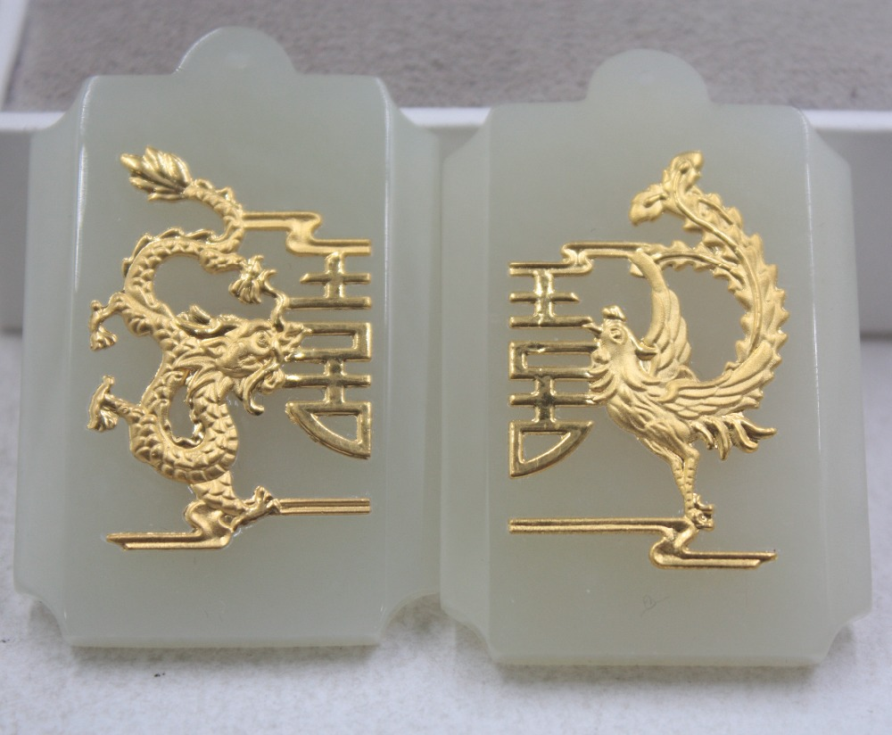 2 pièces Fin 24 K Or Jaune & Hetian Jade Pendentif Carte De Mariage En Forme De Dragon Phoenix Pendentif Amant 46*30mm