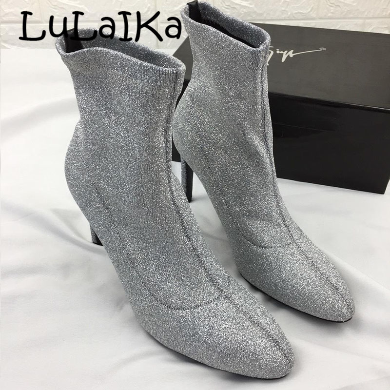 Cm Stretch 2018 Style Hihg Femme Femmes silver Black Talon Chaussons Bling Chaussures Robe 8 Sexy Cheville 5 Bottes Chaussette Glitter Bout Pointu B7OHBxq
