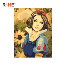 RIHE Dusk Girl Oil Painting By Numbers Flower Cuadros Decoracion Acrylic Paint On Canvas For Artwork Modern Wall Art Pictures