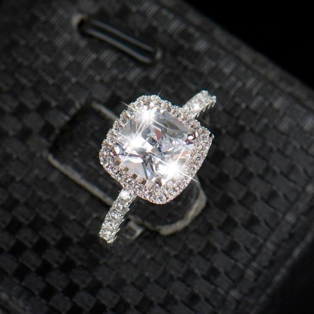 925 Sterling Silver Wedding Rings For Women Square Diamonds Simulator Ring Bague Bijoux Zirconia Engagement