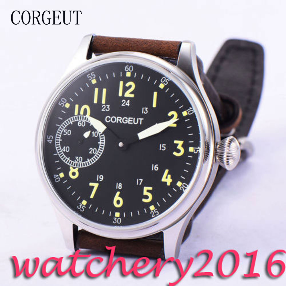 Casual Corgeut 44mm Black Dial Stainless Steel case top brand Luxury Hand Winding 6497 movement Men