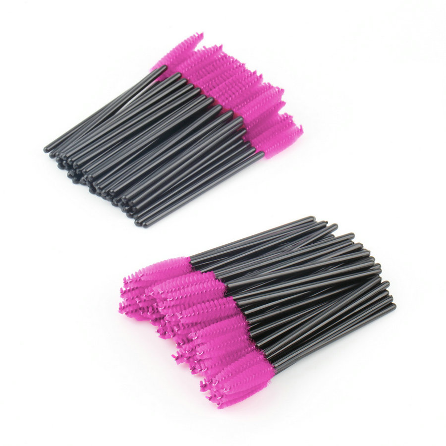 New 100pcs/lot make up brush Pink synthetic fiber One-Off Disposable Eyelash Brush Masca ...