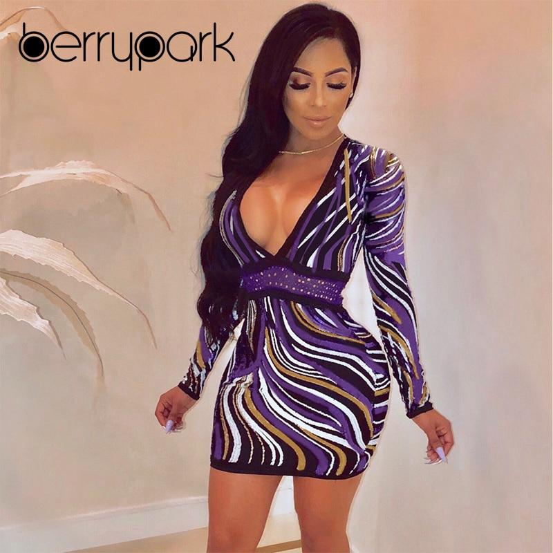 BerryPark Fashion Purple Digital Print Dress 2019 Autumn Winter Women Long  Sleeve Deep V Neck Sheath Stretchy Mini Dresses 32462768b2f9