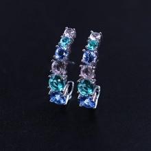 Trendy Round Crystal Stone Stud Earrings Multi Color Ear Cuff Earrings Clip on Women Brincos for Women Fashion Jewelry EFX002242