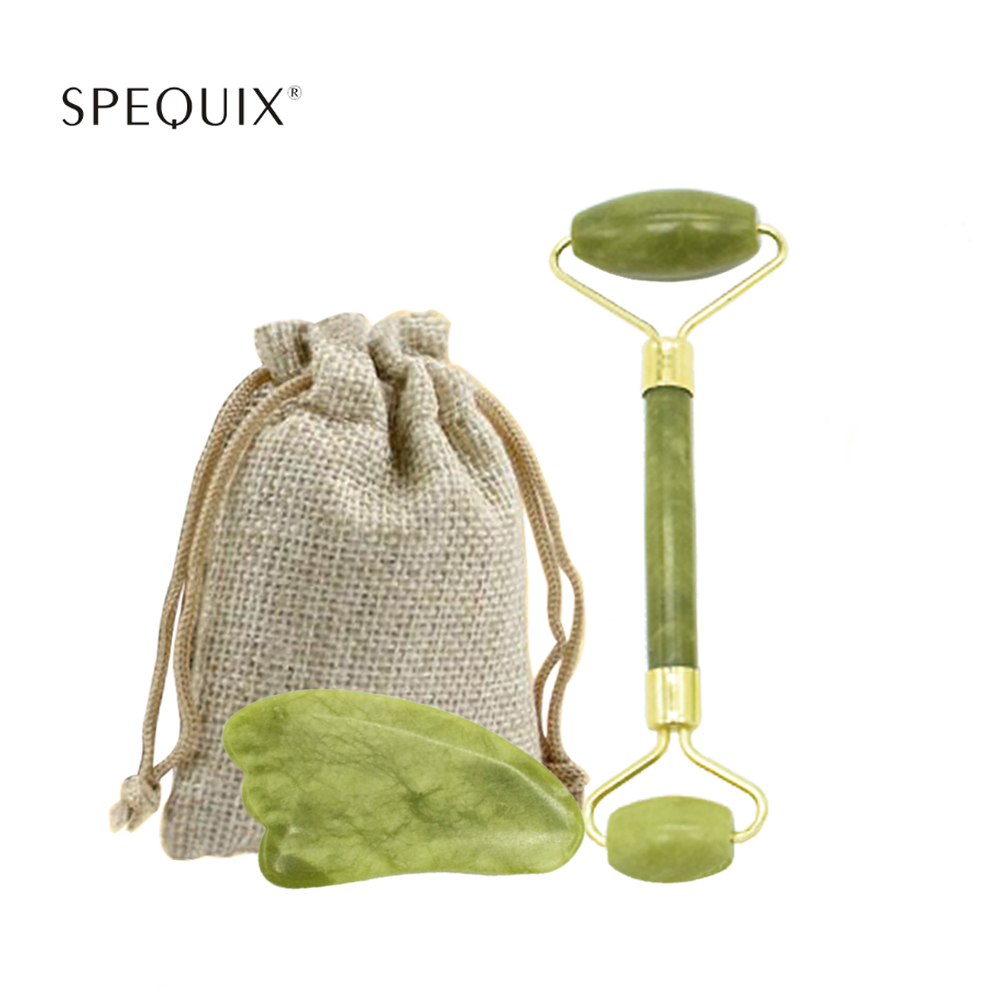 Jade conjunto de rolo pedra rolo facial massageador 100% natural jade rolo cristal emagrecimento rosto fino massageador kit com gua sha ferramentas
