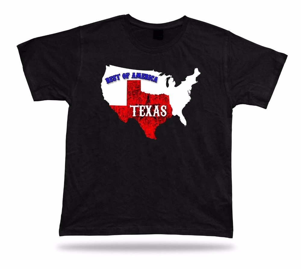 2017 100% Cotton Classic Fashion Solid Color Men T Shirt Texas Rest Of America Map State casual Tee