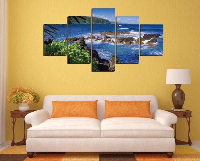Free shipping,5 Pieces(No Frame) Maui, Hawaii Decor Prints Realistic Oil Painting Printed On CANVAS 2824-in Painting & Calligraphy from Home & Garden ...