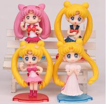 4Pcs/set 6cm Cute Japanese anime figure sailor moon Q version action figure set collectible model toys for girls