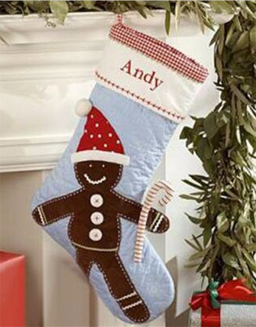 personalized embroidered gingerbread man christmas stockings embroidered name customized colored cotton christmas gift stocking - Embroidered Christmas Stocking