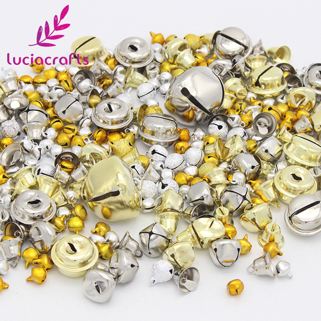 Lucia crafts 50g/lot Random mixed color size cute Jingle bell for DIY Christmas Party Decorative accessories 046011004