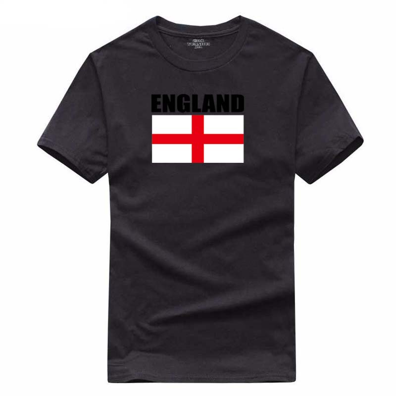 Europe Size 100% Cotton England national flag printing T Shirt Mens 2018 Boys and girls Summer Games Cheer T-shirts Tops