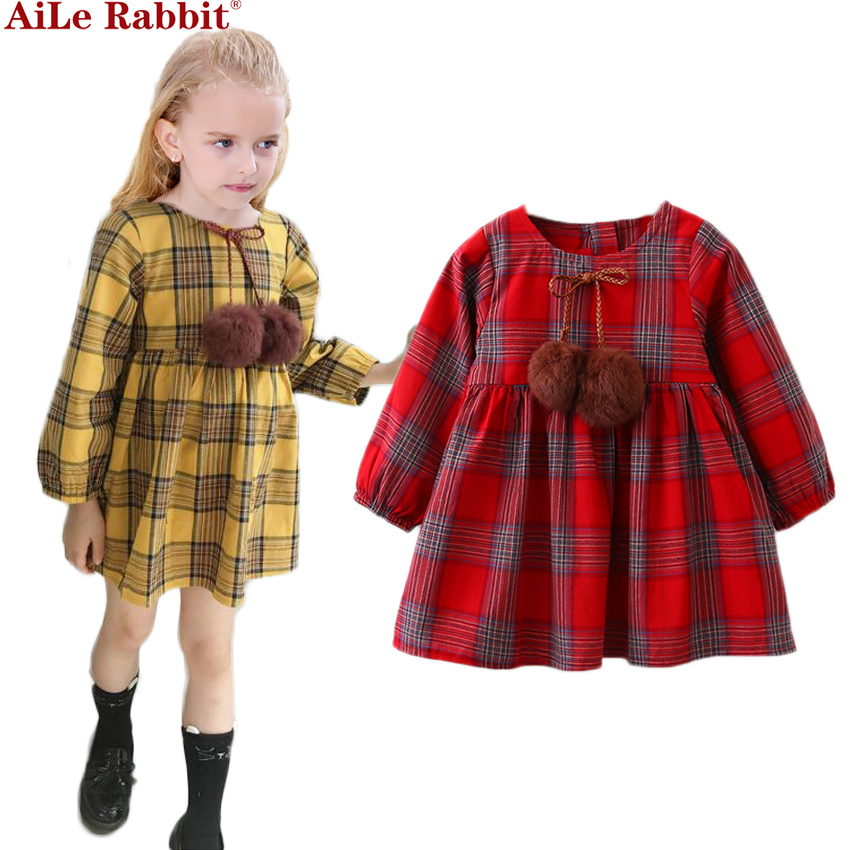 Red Yellow Girls Dress 2017 New Autumn Brand Girls Clothes England Style Plaid Fur Ball Bow Design Baby Girls Dress For 3-8Y 4pcs new for ball uff bes m18mg noc80b s04g