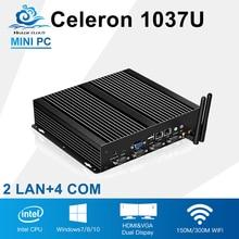 Дешевый промышленный компьютер 1037U мини игровой ПК Server Computer мини-ПК с rs232 2 г Оперативная память 64 г SSD 150 м WI-FI, 2 RJ45 порт