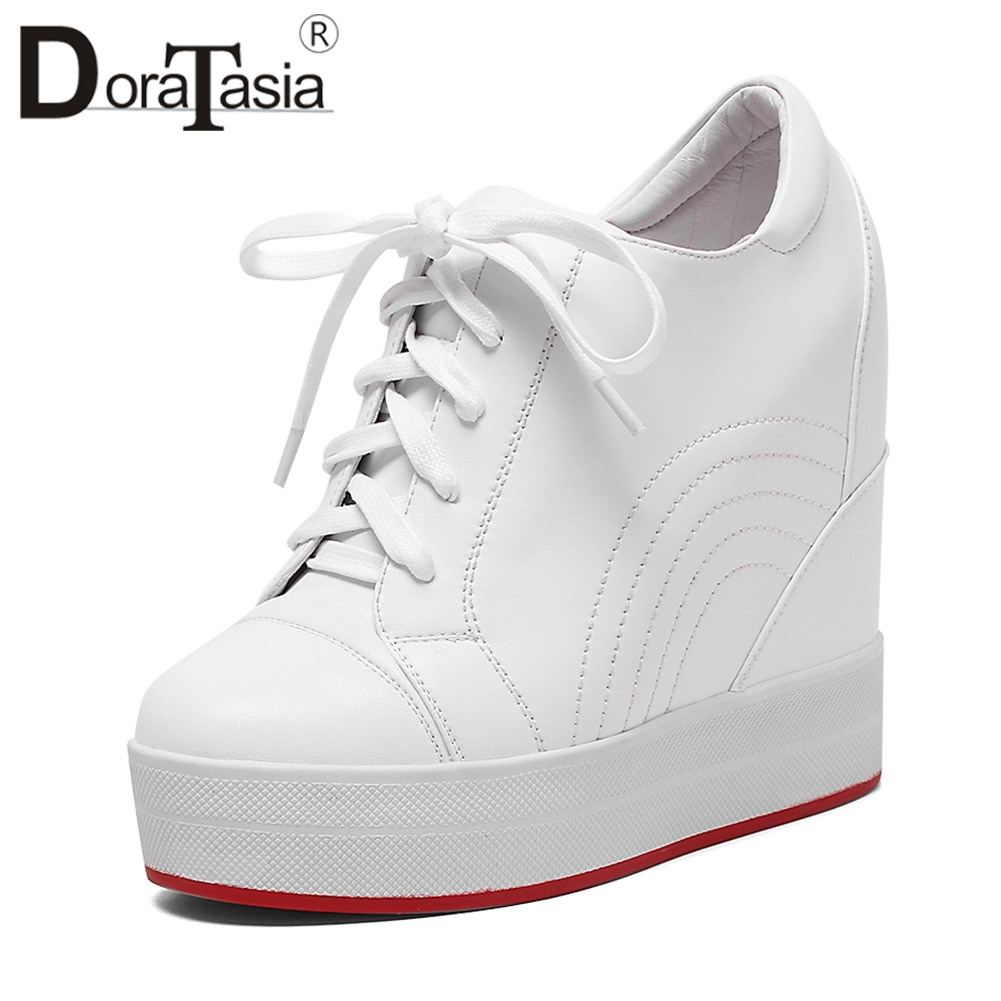 DORATASIA lace up Sneakers Women Genuine Leather Autumn 2019 Sewing High Heels Platform Shoes Woman Height