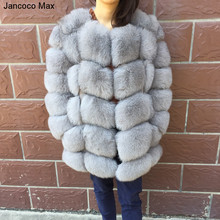 Jancoco Max Womens Real Fox Fur Coat Winter Thick Warm Fashion Outerwear High Quality Long Overcoat 2019 New S7221
