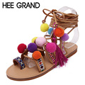HEE GRAND Ball Tassel Gladiator Sandals 2016 Summer Flip Flops Vintage Platform Shoes Woman Lace-Up Flats Women Shoes XWZ3238