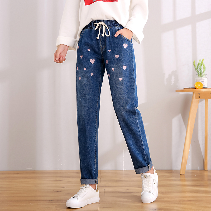Plus Oversized Drawstring Elastic Waist Embroidery Kawaii Love Strawberry Denim Pant Korean Jean Pretty 2019 Trouser Teenager