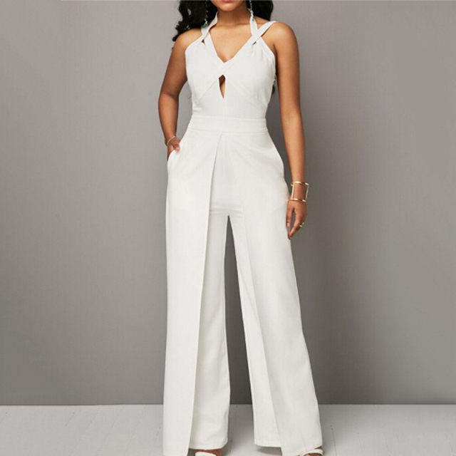 e971f497043 2018 Autumn New Casual Wedding Jumpsuit Elegant Sleeveless Halter White  Jumpsuit Ladies Coverall V-neck