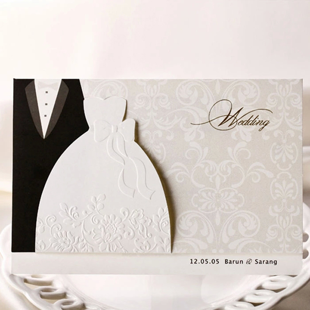 10 Pieces Lot New Clic Bride And Groom Wedding Invitation Cards Black