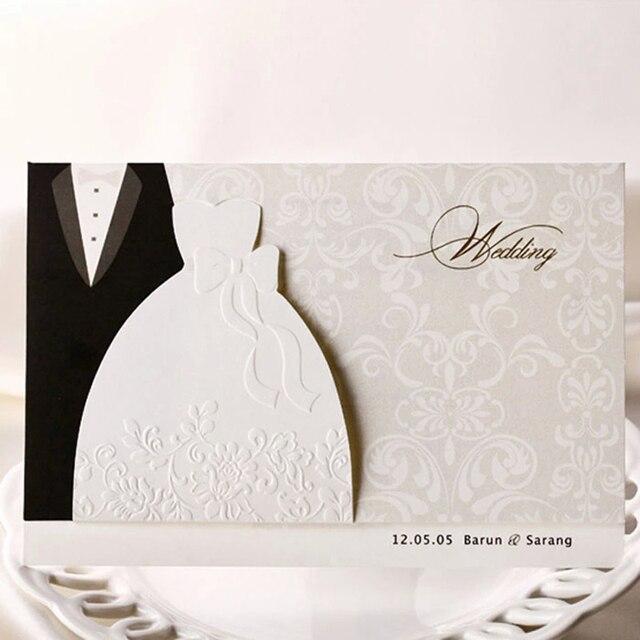 3954c317a520c0 (10 stuks partij) Nieuwe Klassieke Bruid En Bruidegom Uitnodiging Kaarten  Zwart-wit