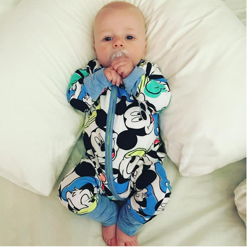 Baby Boy Clothes Cartoon Print Zipper Rompers For Newborns Long Sleeve Baby Kids Jumpsuits Spring Autumn Toddler Boys Rompers casual long sleeve zipper fly cartoon pattern jacket for boy