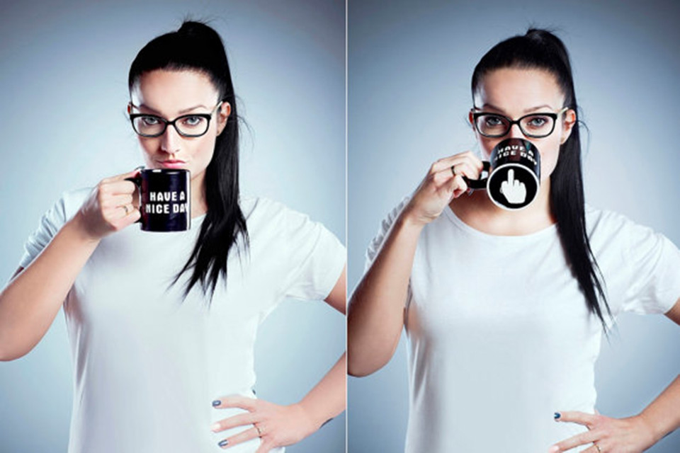 Creative Have a Nice Day Ceramic Coffee Mug Funny Middle Finger