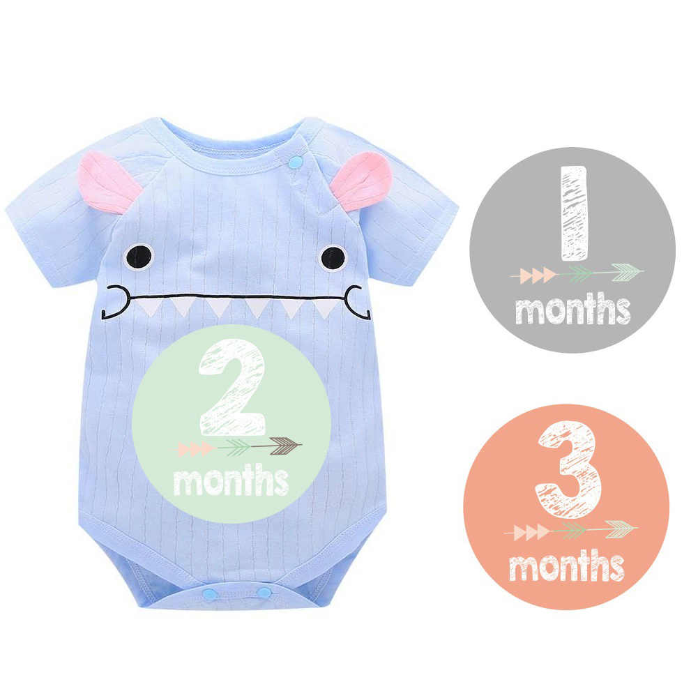 12 Pcs/18pcs/lot Dropship Baby Monthly Stickers 12 Month Milestone Bodysuit Stickers Shower Gift