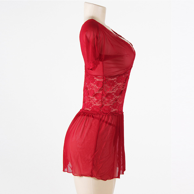 Hot red lace transparent babydoll