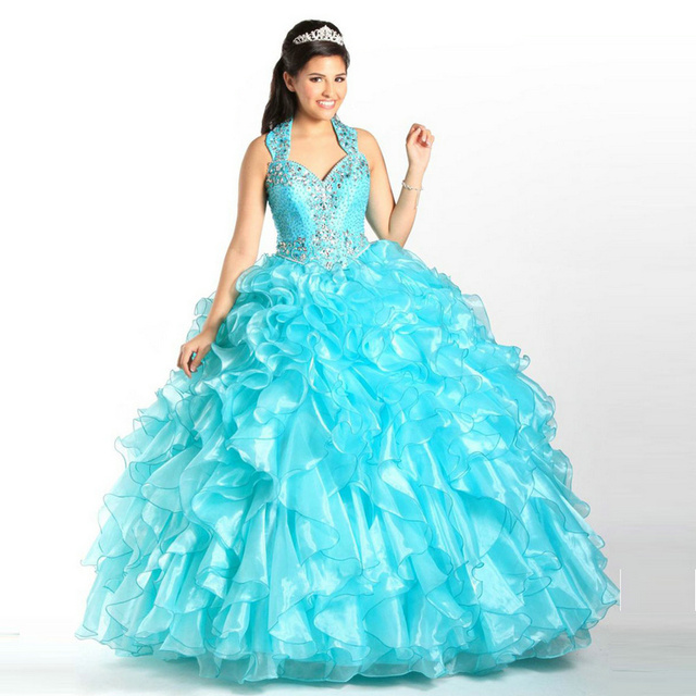 Light Blue Crystal Tiered Quinceanera Dresses Beading with Removable Halter Strap Prom dress 2017 vestido 15 anos debutante