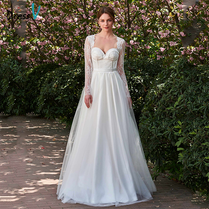 Wedding Dresses With Sweetheart Neckline And Sleeves: Dressv Ivory Long Wedding Dress Sweetheart Neck Long