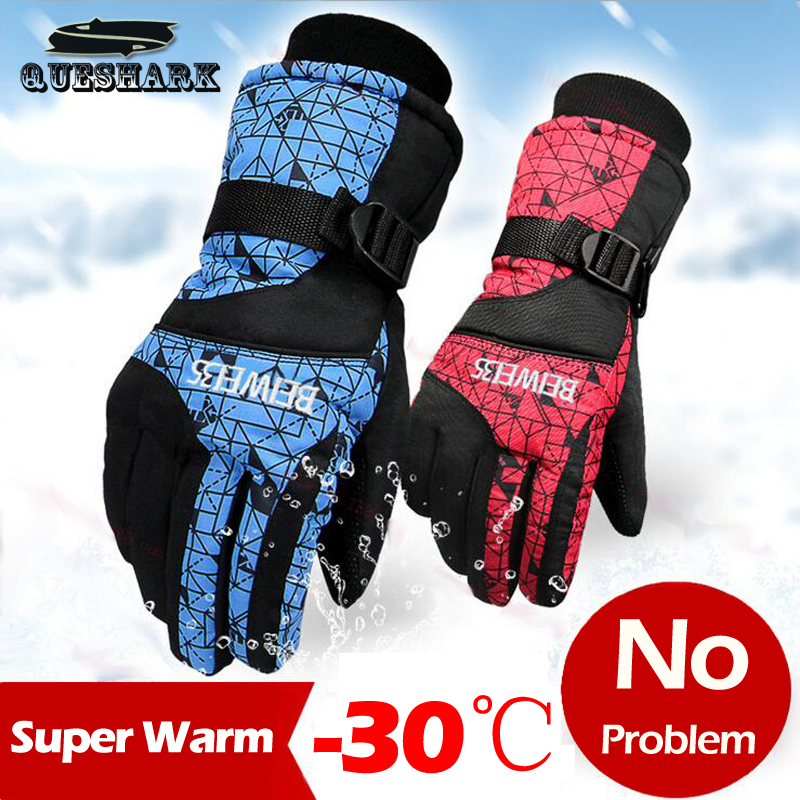 -30 Degrees Men Women Winter Warm Windproof Ski Gloves Outdoor Sports Waterproof Snowboard Skiing Gloves Cycling Snow Mittens windproof 5 fingers heated skiing gloves waterproof cycling rechargeable gloves electric heating gloves