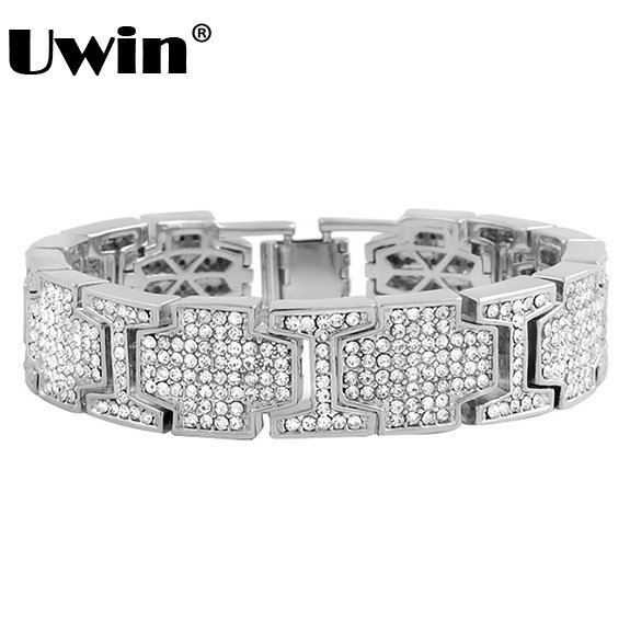 2017 Men S Hip Hop Bling Bracelet Covered Simulated Rhinestones Chain Silever Color Iced Out Jewelry In Link Bracelets From