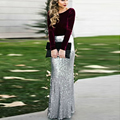 Silver Long Skirt Mermaid Maxi Women Skirts Fashion Jupe Femme Solid Natural Color Girl Gown Faldas