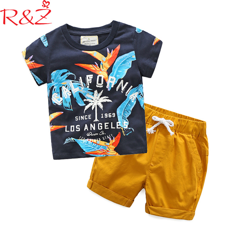 R&ZBaby Boys Clothes Sets 2018 Summer Cotton Short Sleeve Printed Letters T-shirts+Yellow Pants 2pcs for KidsChildren's Clothing