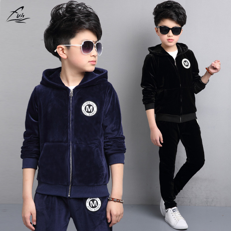 FYH 2018 Autumn Spring Boys Sports Set 2pcs Gold Velvet Kids Clothing Sets Boys Tracksuit School Kids Suit Sets Jackets & Pants