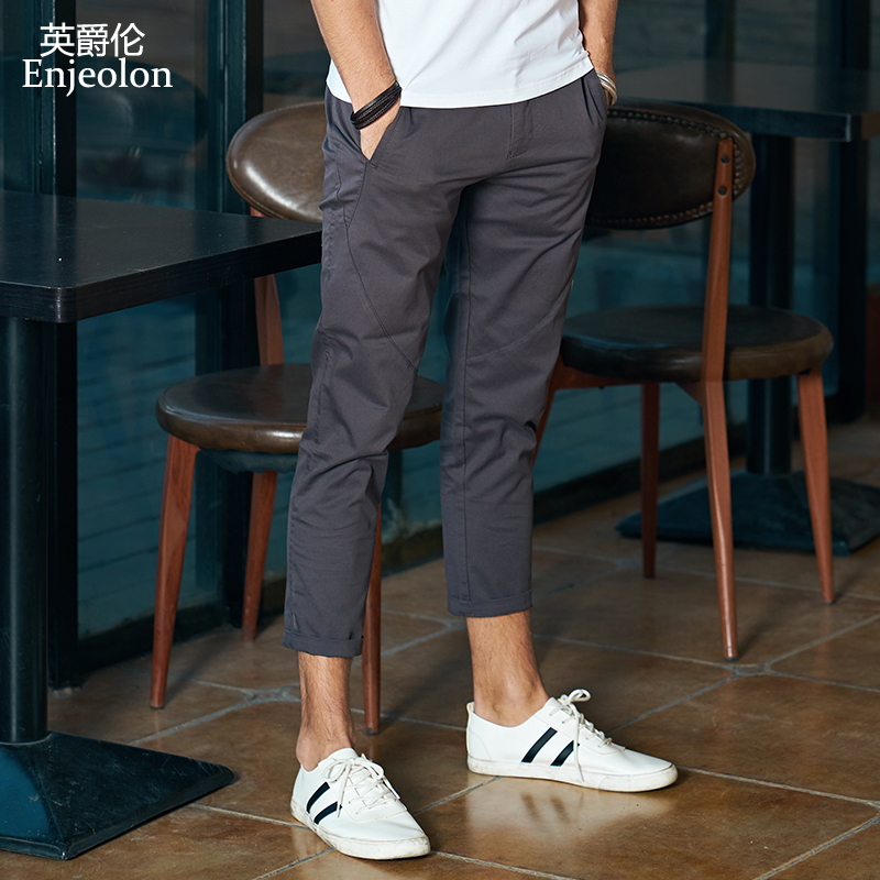 Enjeolon Brand Ankle Length Trousers Solid 7 Color Pencil Pants Men Trousers Pants Males Causal Fashion Clothes K6259