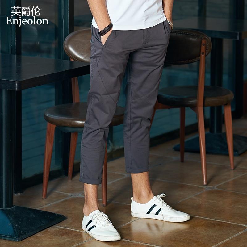 Enjeolon Brand Ankle Length Trousers Solid 7 Color Pencil Pants Men Trousers Pants Males Causal Fashion Clothes K6259