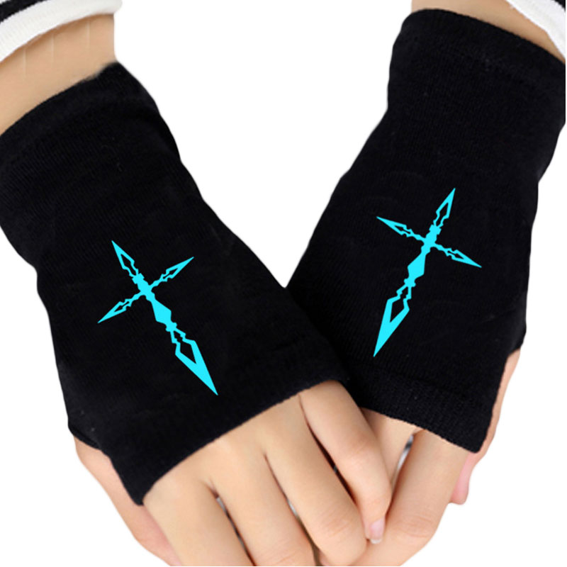 Glow In Dark Fashion Unisex Knit Gloves Fate Zero Stay Night Saber Fingerless Cotton Knitted Glove Winter Warmer Cosplay Mittens