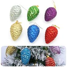 Christmas Decoration for Home Christmas Tree Decoration Christmas Theme Shiny Glitter Pinecone Hanging  Party Pendant Ornament