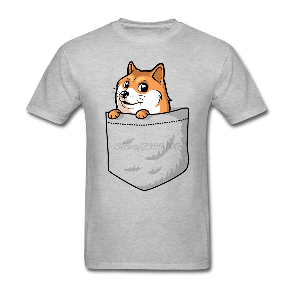 Pocket Doge Shiba Tees Shirt Men s font b Geek b font Short Sleeve Cotton Custom