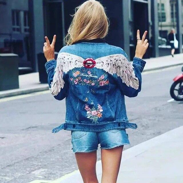Ravi Town 2017 spring new fashion back wings embroidered women denim jacket