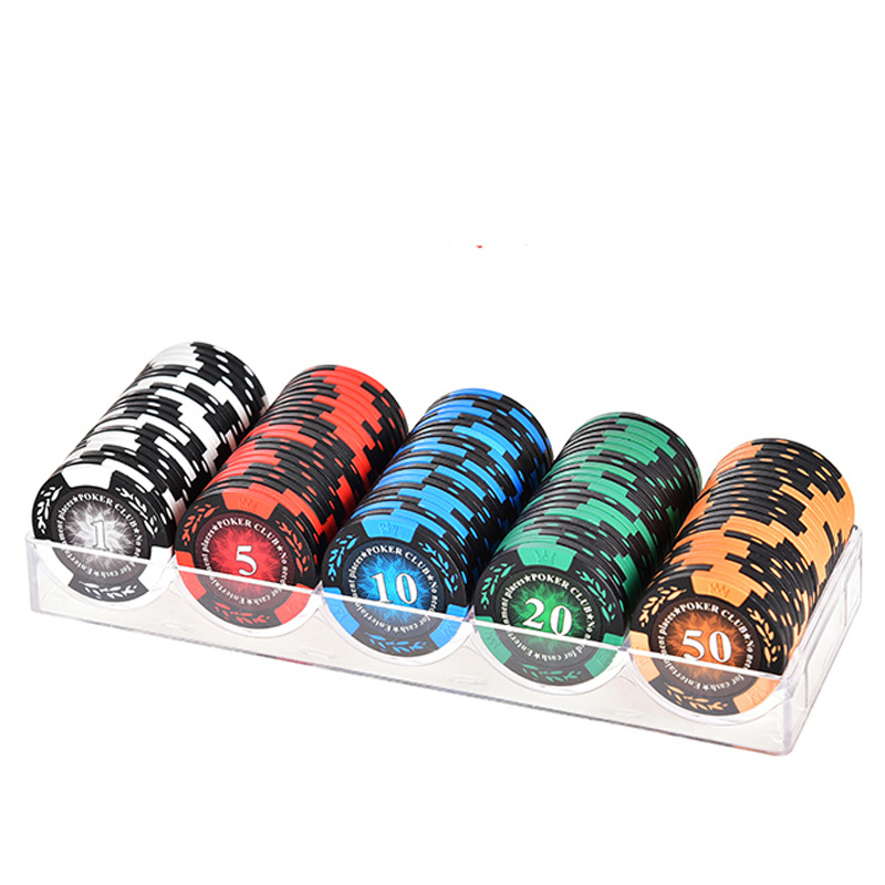 100PCS/SET Poker Chips SET,Good Quality Clay Digital Chips Texas Holdem Poker Wholesale Wheat Chips with Acrylic ox