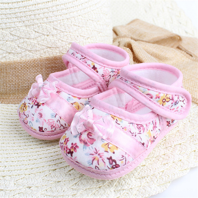 2019 New Fashion Infants Shoes Baby Kids Bowknot Flower Printed First Walkers Sweet Color Prewalker Cotton Fabric Shoes 1
