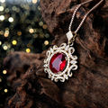 Necklace Woman Pendant Rubi In Solid 14Kt Yellow Gold Natural Diamond Ruby Pendant For Sale Oval 8x10mm WP048